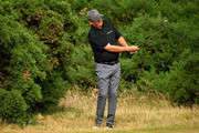 Jason Dufner of the United States takes a shot on a practice round during previews ahead of the 147th Open Championship at Carnoustie Golf Club on July 16, 2018 in Carnoustie, Scotland.