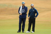 Ryan Moore of the United States with his caddie JJ Jakowac on the sixth hole during the second round of the 147th Open Championship at Carnoustie Golf Club on July 20, 2018 in Carnoustie, Scotland.