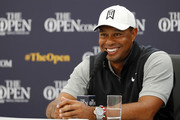 Tiger Woods of the United States speaks to the media during a press conference during a practice round prior to the 148th Open Championship held on the Dunluce Links at Royal Portrush Golf Club on July 16, 2019 in Portrush, United Kingdom.