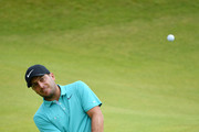 Francesco Molinari of Italy plays a shot during a practice round prior to the 148th Open Championship held on the Dunluce Links at Royal Portrush Golf Club on July 16, 2019 in Portrush, United Kingdom.