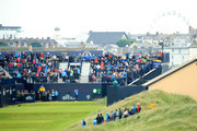 Justin Thomas of the United States plays a shot off the first tee during a practice round prior to the 148th Open Championship held on the Dunluce Links at Royal Portrush Golf Club on July 17, 2019 in Portrush, United Kingdom.