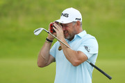 Lee Westwood of England looks on during a practice round prior to the 148th Open Championship held on the Dunluce Links at Royal Portrush Golf Club on July 16, 2019 in Portrush, United Kingdom.