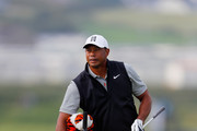 Tiger Woods of the United States stands next to his bag during a practice round prior to the 148th Open Championship held on the Dunluce Links at Royal Portrush Golf Club on July 16, 2019 in Portrush, United Kingdom.