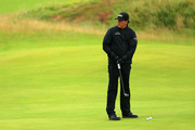 Phil Mickelson of The United States of America looks on during a practice round prior to the 148th Open Championship held on the Dunluce Links at Royal Portrush Golf Club on July 17, 2019 in Portrush, United Kingdom.