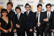 Actors Rashida Jones, Josh Pence, Jesse Eisenberg, Justin Timberlake, Max Minghella and Andrew Garfield pose with the Hollywood Ensemble Cast Award during the 14th annual Hollywood Awards Gala at The Beverly Hilton Hotel on October 25, 2010 in Beverly Hills, California.