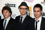 (EXCLUSIVE)  (L-R) Actors Jesse Eisenberg, Justin Timberlake, and Max Minghella pose during the 14th annual Hollywood Awards Gala at The Beverly Hilton Hotel on October 25, 2010 in Beverly Hills, California.