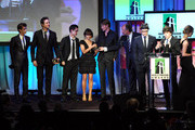 """The cast of """"The Social Network"""" accept the Hollywood Ensemble Cast Award onstage during the 14th annual Hollywood Awards Gala at The Beverly Hilton Hotel on October 25, 2010 in Beverly Hills, California."""