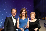 (L-R) Kyle MacLachlan, Desiree Gruber, and Caryl M. Stern pose onstage during the 14th Annual UNICEF Snowflake Ball 2018 on November 27, 2018 in New York City.