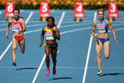 (L-R) Yee Pui Fong of Hong Kong, Shelly-Ann Fraser-Pryce of Jamaica and Nataliya Pohrebnyak of Ukraine compete in the Women's 100 metres heats during Day Two of the 14th IAAF World Athletics Championships Moscow 2013 at Luzhniki Stadium on August 11, 2013 in Moscow, Russia.