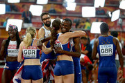 Christine Ohuruogu of Great Britain, Eilidh Child of Great Britain, Seren Bundy-Davies of Great Britain, Rabah Yousif of Great Britain, Delanno Williams of Great Britain and Martyn Rooney of Great Britain celebrate after all winning bronze in the 4x400 Relay Finals during day nine of the 15th IAAF World Athletics Championships Beijing 2015 at Beijing National Stadium on August 30, 2015 in Beijing, China.
