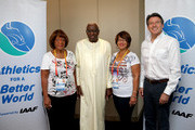 Daughter and Grand Daughter of Jesse Owens meet IAAF President Diack as Jesse Owens Foundation partners with IAAF Athletics for a Better World -  IAAF President Lamine Diack and IAAF President elect Sebastian Coe poses for a photograph with Beverly Owens Prather (right) daughter of Jessie Owens and Donna Prather Williams, granddaughter of Jessie Owens during day six of the 15th IAAF World Athletics Championships Beijing 2015 at Beijing National Stadium on August 27, 2015 in Beijing, China.