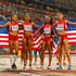 Allyson Felix Jenna Prandini Photos - English Gardner of the United States, Allyson Felix of the United States, Jenna Prandini of the United States and Jasmine Todd of the United States celebrate after winning silver in the Women's 4x100 Metres Relay final during day eight of the 15th IAAF World Athletics Championships Beijing 2015 at Beijing National Stadium on August 29, 2015 in Beijing, China. - 15th IAAF World Athletics Championships Beijing 2015 - Day Eight