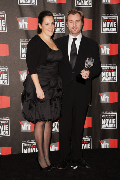 "Writer/director Christopher Nolan (R) and producer Emma Thomas accept the Best Action Movie award for ""Inception"" in the press room during the 16th annual Critics' Choice Movie Awards at the Hollywood Palladium on January 14, 2011 in Los Angeles, California."