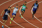 Christophe Lemaitre of France, Daniel Talbot of Great Britain, Wayde van Niekerk of South Africa and Ameer Webb of the United States compete in the Men's 200 metres semi finals during day six of the 16th IAAF World Athletics Championships London 2017 at The London Stadium on August 09, 2017 in London, United Kingdom.