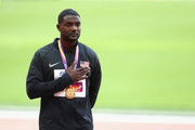 Justin Gatlin of the United States poses with the gold medal for the Men's 100 metres during day three of the 16th IAAF World Athletics Championships London 2017 at The London Stadium on August 6, 2017 in London, United Kingdom.