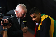 Wayde van Niekerk of South Africa is interveiwed after winning the Men's 400 metres final during day five of the 16th IAAF World Athletics Championships London 2017 at The London Stadium on August 8, 2017 in London, United Kingdom.