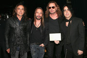 """(L-R) Recording artists Juan Calleros, Sergio Vallin, Fher Olvera, and Alex Gonzalez of music group Mana, winners of  the Best Pop/Rock Album award for """"Cama Incendiada"""" attend the 16th Latin GRAMMY Awards at the MGM Grand Garden Arena on November 19, 2015 in Las Vegas, Nevada."""