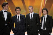 Actors Armie Hammer, Andrew Garfield, Justin Timberlake and Jesse Eisenberg speaks onstage during the 17th Annual Screen Actors Guild Awards held at The Shrine Auditorium on January 30, 2011 in Los Angeles, California.
