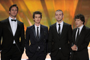 (L-R) Presenters Armie Hammer, Andrew Garfield, Justin Timberlake and Jesse Eisenberg speak onstage during the 17th Annual Screen Actors Guild Awards held at The Shrine Auditorium on January 30, 2011 in Los Angeles, California.