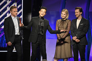 (L-R) Ben Hardy, Rami Malek, Lucy Boynton and Joe Mazzello speak onstage at the 18th Annual AARP The Magazine's Movies For Grownups Awards at the Beverly Wilshire Four Seasons Hotel on February 04, 2019 in Beverly Hills, California.