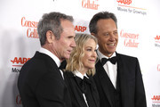 (L-R) Bo Welch, Catherine O'Hara and Richard E. Grant attend the 18th Annual AARP The Magazine's Movies For Grownups Awards at the Beverly Wilshire Four Seasons Hotel on February 04, 2019 in Beverly Hills, California.