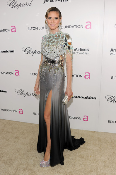 Model Heidi Klum arrives at the 19th Annual Elton John AIDS Foundation Academy Awards Viewing Party at the Pacific Design Center on February 27, 2011 in West Hollywood, California.