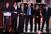 """(L-R) Honorees Kurt Russell, Michael Madsen, Walton Goggins, Bruce Dern, Tim Roth and Channing Tatum accept the Hollywood Ensemble Award for """"The Hateful Eight"""" onstage during the 19th Annual Hollywood Film Awards at The Beverly Hilton Hotel on November 1, 2015 in Beverly Hills, California."""