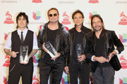 (L-R) Alex Gonzalez, Fher Olvera, Juan Calleros and Sergio Vallin of Mana pose in the press room during the 19th annual Latin GRAMMY Awards at MGM Grand Garden Arena on November 15, 2018 in Las Vegas, Nevada.