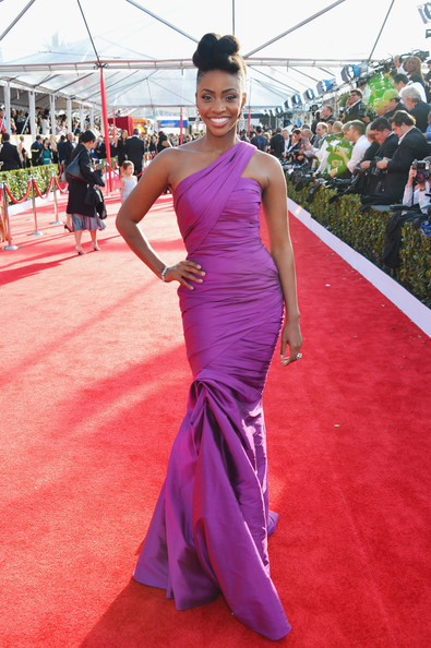 Actress Teyonah Parris arrives at the 19th Annual Screen Actors Guild Awards held at The Shrine Auditorium on January 27, 2013 in Los Angeles, California.