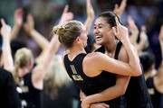 Maria Tutaia and Casey Williams of New Zealand celebrate winning the Women Finals Gold medal match between Australia and New Zealand at the Thyagaraj Sports Complex during day eleven of the Delhi 2010 Commonwealth Games on October 14, 2010 in Delhi, India.