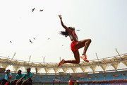 Ayanna Alexander of Trinidad and Tobago competes in the women's long jump during day six of the Delhi 2010 Commonwealth Games at Jawaharlal Nehru Stadium on October 9, 2010 in Delhi, India.