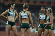 (L-R) Lauren Boden, Pirrenee Steinert, Jody Henry and Olivia Tauro of Australia chat after competing in the women's 4 x 400 metres relay first round at Jawaharlal Nehru Stadium during day eight of the Delhi 2010 Commonwealth Games on October 11, 2010 in New Delhi, India.