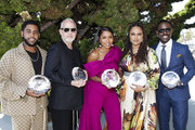 (L-R) Jharrel Jerome, Ryan Murphy, Angela Bassett, Ava DuVernay and Sterling K. Brown attend the 1st annual AAFCA TV Honors at California Yacht Club on August 11, 2019 in Marina del Rey, California.