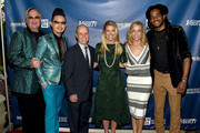 (L-R) Hosts Johnathon Arndt and Newman Arndt, figure skater Scott Hamilton, Tracie Hamilton of J/P HRO, and musical artists Sheryl Crow and Paul Beaubrun attend the 1st Annual Nashville Shines for Haiti concert benefiting J/P Haitian Relief Organization - Day 1 on April 26, 2016 in Nashville, Tennessee.