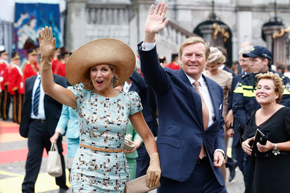 King Willem-Alexander and Queen Maxima of The Netherlands greet supporters during the celebration to the 200 Years of the Kingdom of The Netherlands on August 30, 2014 in Maastricht, Netherlands.