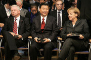 German Christian Democrat and Governor of the state of Hesse Roland Koch (L), German Chancellor Angela Merkel (R) and Chinese Vice President Xi Jinping are seen during the opening ceremony of the 61st Frankfurt Book Fair on October 13, 2009 in Frankfurt am Main, Germany.