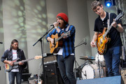 (L-R) Christian Wargo, Robin Pecknold and Skyler Skjelset of Fleet Foxes perform during the 2009 Lollapalooza Music Festival at Grant Park on August 7, 2009 in Chicago.