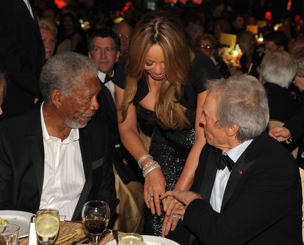 Clint Eastwood (L-R) Actor Morgan Freeman, actress/singer Mariah Carey and