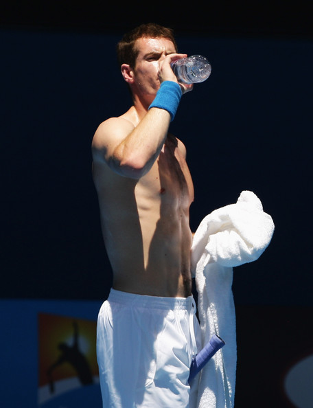 Andy murray andy murray of great britain takes a drink break during