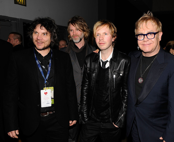 Musicians Jeff Tweedy and Pat Sansone of Wilco,  Beck and Elton John attend the 2010 MusiCares Person Of The Year Tribute To Neil Young at the Los Angeles Convention Center on January 29, 2010  in Los Angeles, California