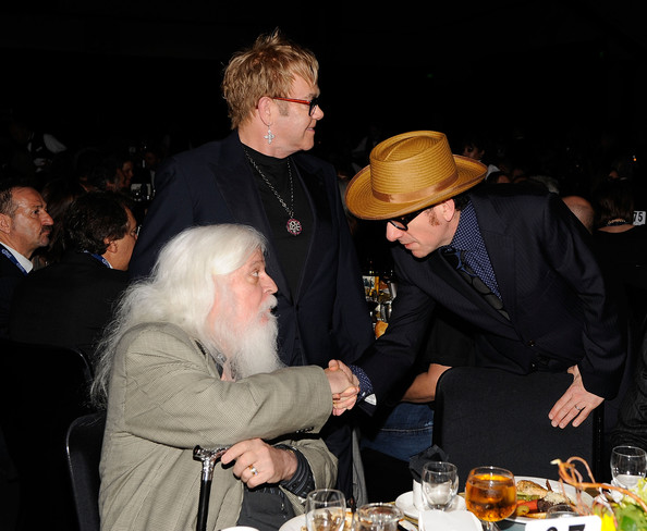 Musicians Leon Russell, Elton John and Elvis  Costello attend the 2010 MusiCares Person Of The Year Tribute To Neil  Young at the Los Angeles Convention Center on January 29, 2010 in Los  Angeles, California