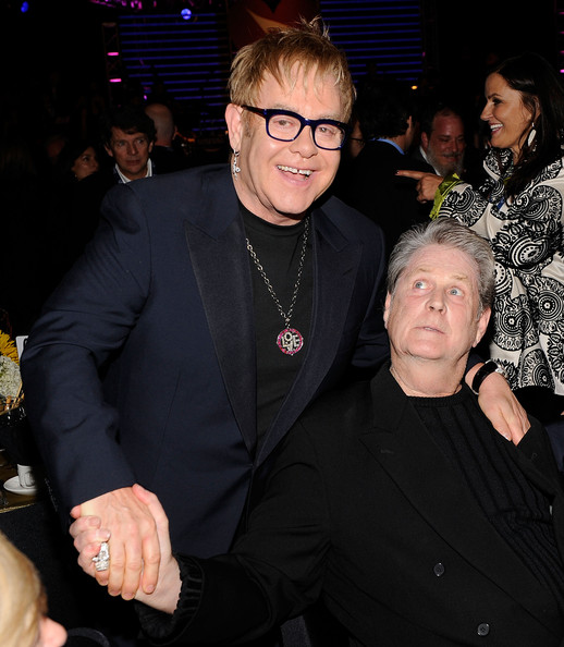 Musicians Elton John and Brian Williams attend the  2010 MusiCares Person Of The Year Tribute To Neil Young at the Los  Angeles Convention Center on January 29, 2010 in Los Angeles,  California