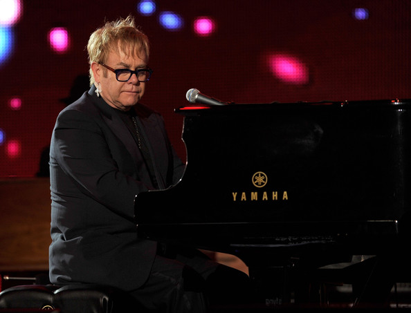 Musician Elton John performs onstage at the 2010  MusiCares Person Of The Year Tribute To Neil Young at the Los Angeles  Convention Center on January 29, 2010 in Los Angeles, California.