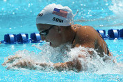 Rebecca Soni swims in the women's 50m breaststroke qualifying heats during the Mutual of Omaha Pan Pacific Championships at the William Woollett Jr. Aquatic Center on August 20, 2010 in Irvine, California.