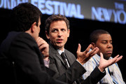 (L-R) David Remnick, Seth Meyers and Kenan Thompson during the 2010 New Yorker Festival at Acura at SIR Stage37 on October 3, 2010 in New York City.