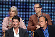 """(Top row) Executive producer Carol Mendelsohn, executive producer/ show runner Greg Walker, (2nd Row) actors Jerry O'Connell and Jim Belushi speak at """"The Defenders"""" panel during 2010 Summer TCA Tour Day 1 at the Beverly Hilton Hotel on July 28, 2010 in Beverly Hills, California."""