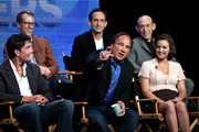 """(Top row) Executive producer/ show runner Greg Walker, executive producers Joe Gantz and Harry Gantz (2nd row) actors Jerry O'Connell, Jim Belushi, Tanya Fischer speaks at """"The Defenders"""" panel during 2010 Summer TCA Tour Day 1 at the Beverly Hilton Hotel on July 28, 2010 in Beverly Hills, California."""