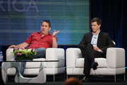 "Creator Ben Richards and actor Eric Mabius speak during the ""Outcasts"" panel during the BBC America portion of the 2010 Summer TCA press tour held at the Beverly Hilton on August 7, 2010 in Beverly Hills, California."
