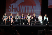 """TV personalities Rose Garcia, Jill Goldstein, Mikey Koffman, Whitney Mixter, Tracy Ryerson and Nikki Weiss and Executive Producers Ilene Chaiken and Jane Lipsitz speak onstage during """"The Real L Word"""" panel during the 2010 Summer TCA Tour Day 2 at the Beverly Hilton Hotel  on July 29, 2010 in Beverly Hills, California."""