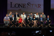 "Actor Bryce Johnson, Executive Producer Kerry Kohansky, actor Mark Deklin, Executive Producer Chris Keyser, actress Eloise Mumford, Executive Producer Amy Lippman, actor James Wolk, Creator/Writer/Executive Producer Kyle Killen, actress Adrianne Palicki, Executive Producer Peter Horton, actor Jon Voight, Director Mark Webb and actor David Keith speak onstage during the ""Lone Star"" panel for the FOX portion of the summer Television Critics Association press tour at the Beverly Hilton Hotel on August 2, 2010 in Beverly Hills, California."